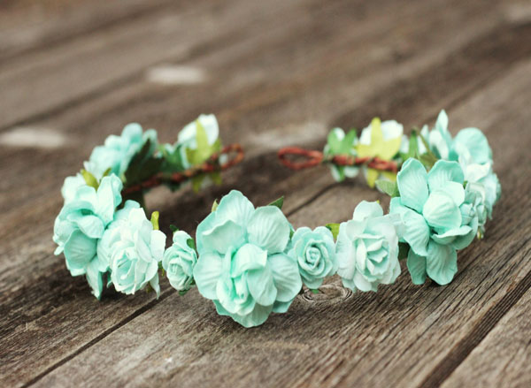 Mint Flower Crown Wedding Rose Hair Wreath