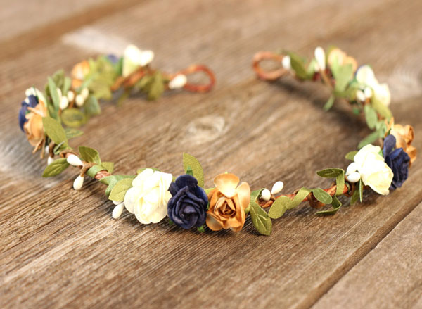 Rustic Flower Hair Crown Navy Wedding Headband Leafs