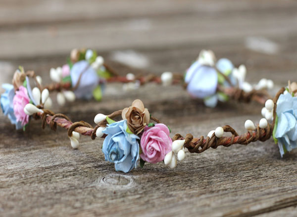 Flower Head Crown Blue Blush Floral Halo Wreath Beige