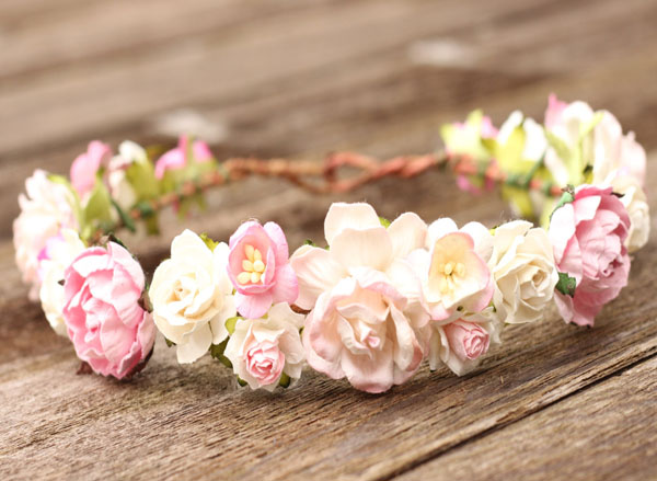 Wedding Flower Headpiece Boho Flower Crown White and Blush