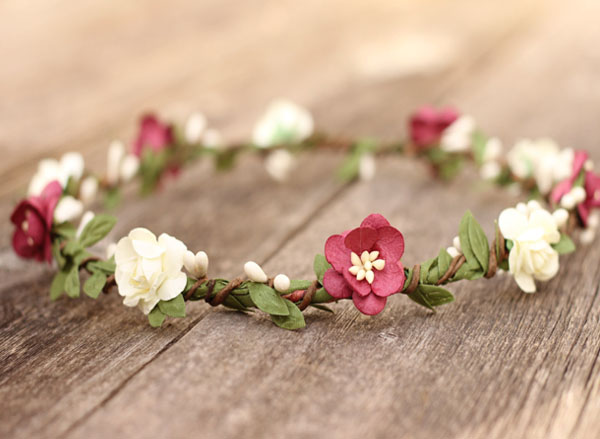 Womens Floral Garland in Burgundy small ivory Flower Crown with greenery
