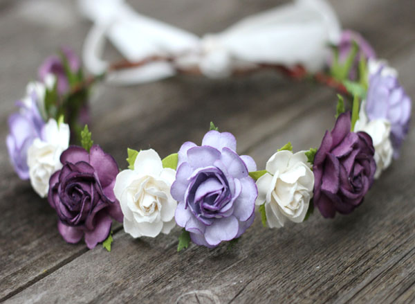 Purple Wedding Head Wreath Plum Floral Headpiece Rose Hair Wreath