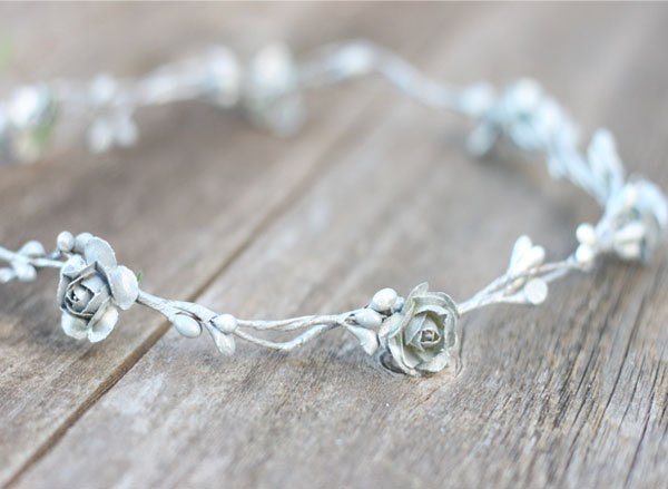 Wedding Silver Flower Crown Hair Wreath Rose Headpiece