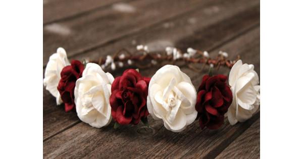 Burgundy wedding flower wreath  Floral greenery half crown for a bride  Bridal boho floral comb  headband with eucalyptus VERONIQUE
