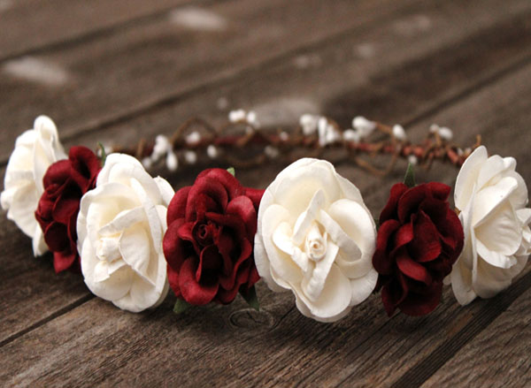 Oversized Wedding Flower Crown Ivory Hair Wreath Burgundy Floral Halo