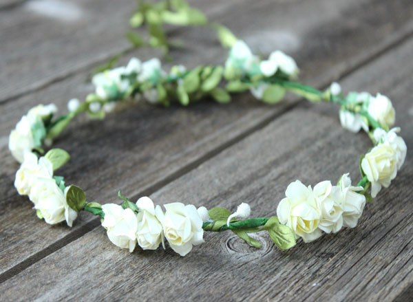 Ivory Flower Crown Hair Wreath with greenery