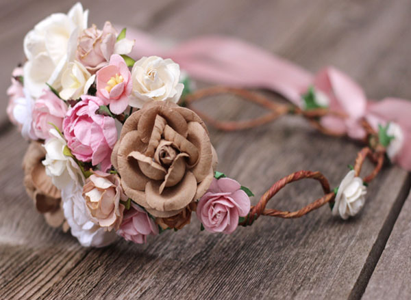 Oversized Flower Crown Wedding Blush Beige and Ivory Floral Headpiece