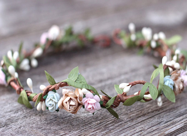 Earth Tone Flower Crown Headband Boho Leaf Wedding Hair Crown