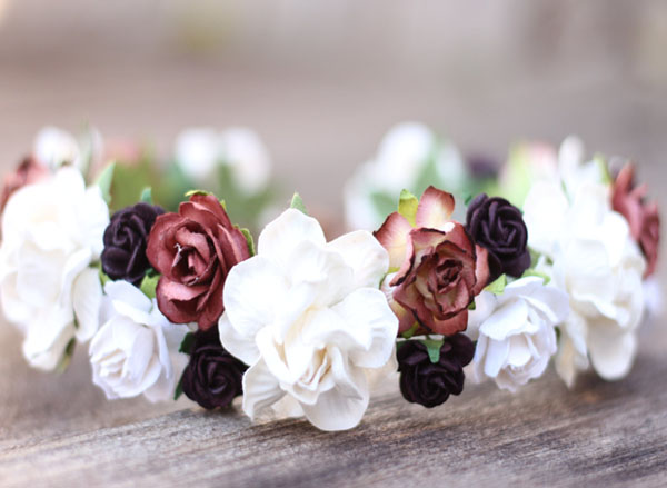 Bridal Headpiece Maroon Plum and Ivory Wedding Flower Crown Head Wreath Floral Hair Garland Boho Hair Crown