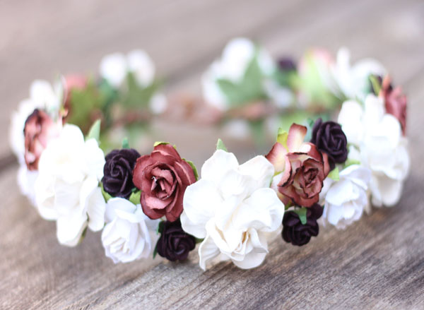 ... Bridal Headpiece Maroon Plum and Ivory Wedding Flower Crown Head Wreath Floral Hair Garland Boho Hair