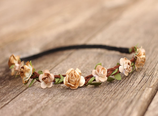 Earth Tone Rustic Flower Crown Headband Girls