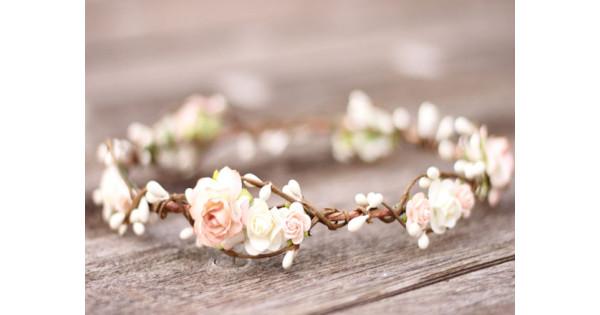 flower girl crown Cream ivory taupe champagne flower crown bridal crown baby flower crown bluch flower crown boho wedding crown