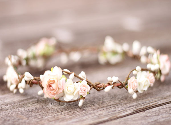 Wedding Floral Crown in Champagne and Ivory Flower Bridal Headpiece
