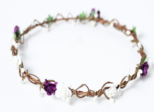 Purple and White Woodland Flower Crown Halo