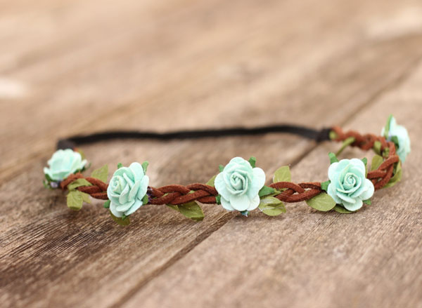 Mint Flower Crown Headband Elastic