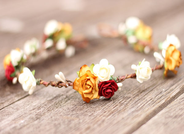Bridal Flower Hair Fall Flower Crown Burnt Orange and Ivory Red Floral Halo