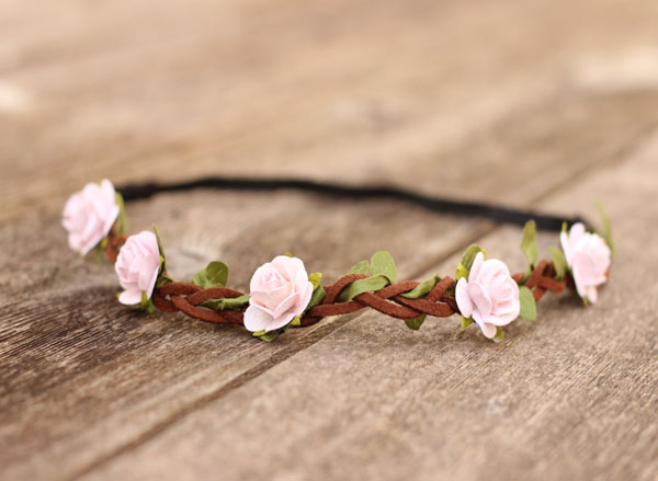 Pale Pink Flower Crown Festival Boho Headband Flowr Girl