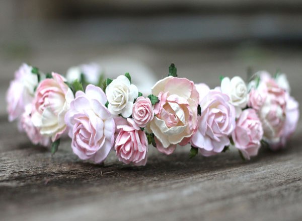 Pastel Wedding Flower Crown Ivory and Blush Floral Head Wreath Rose