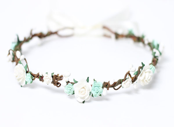 Mint and White Flowe Crown Wedding