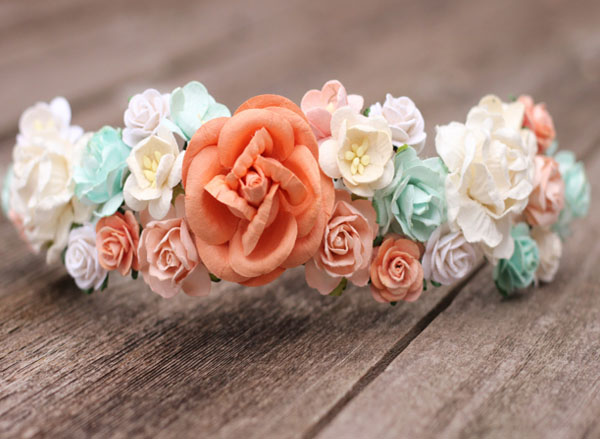 Peach Flower Crown Hair Wreath Wedding Floral Crown Rose Halo Crown