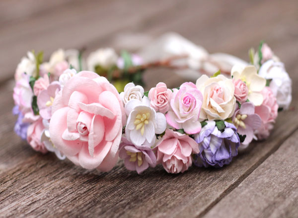 Blush Flower Crown Pink Bridal Headband Wedding Hair Crown