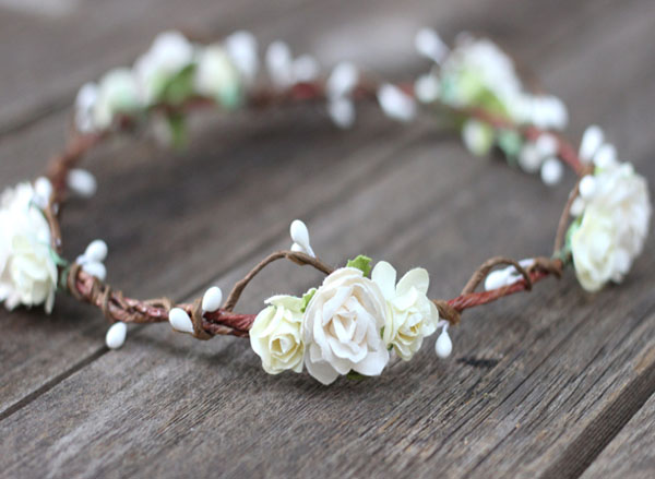 White Wedding Hair Crown Bridal Ivory Flower Crown Circlet