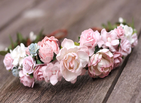 Pale Blush Pink Flower Crown Headband Wedding Head Wreath Crown