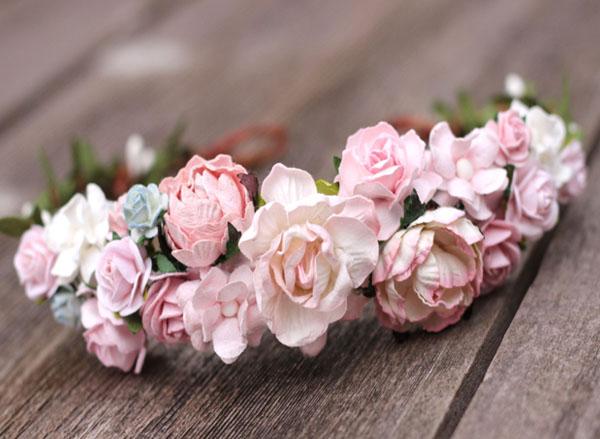 Pale Blush Pink Flower Crown Headband Wedding Head Wreath Crown 4d70fd7ea02