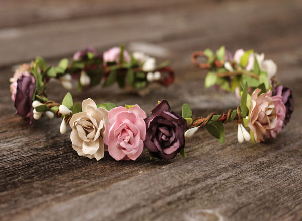 Rose Pink Flower Crown Auburn Plum Rustic Wedding Head Wreath Greenery