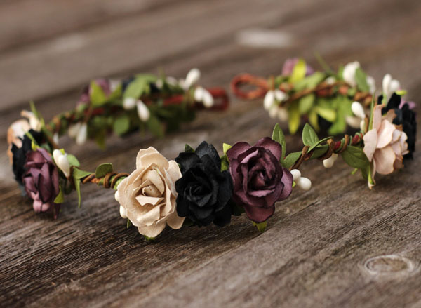 Rustic Wedding Flower Crown in Black Plum and Beige Rose Greenery Crown