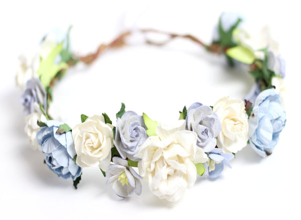 Blue Wedding Head Wreath Flower Crown Ivory Floral Headpiece