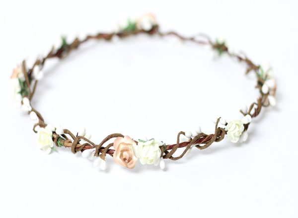 Earth Tone Ivory Flower Crown Rustic Hair Crown Bridal Hair Wreath