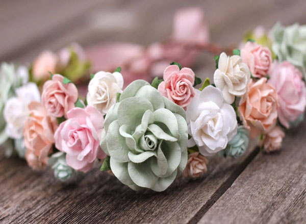 Bridal flower crown blush wedding white floral crown headpiece bridal flower crown blush sage white wedding floral crown headpiece mightylinksfo