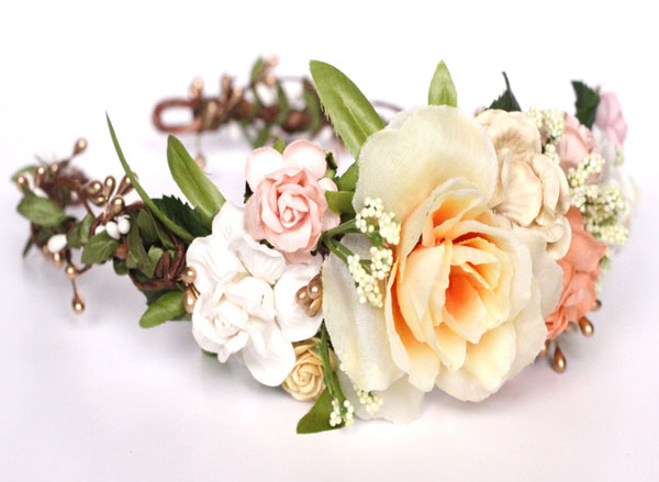 Ivory and Peach Head Wreath Bridal Boho Flower Crown Headband Gold Wedding Headpiece