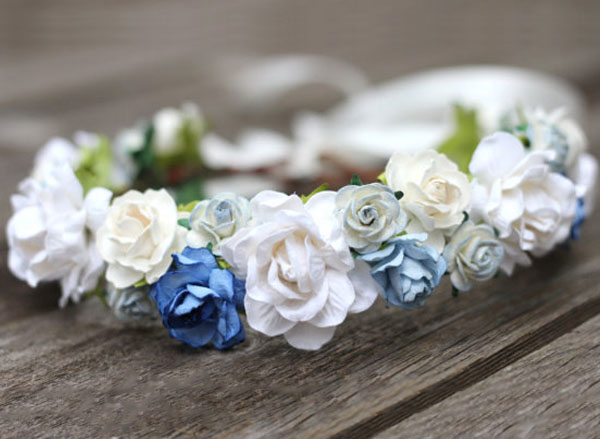Blue Wedding Hair Crown White Bridal Halo Dusty Blue Head Wreath