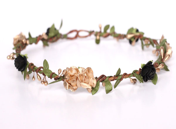 Gold Crown Black Flower Crown Hair Wreath Greenery Wedding