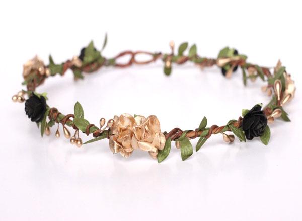 Gold Crown Black Flower Crown Hair Wreath Greenery Wedding d5706f80903