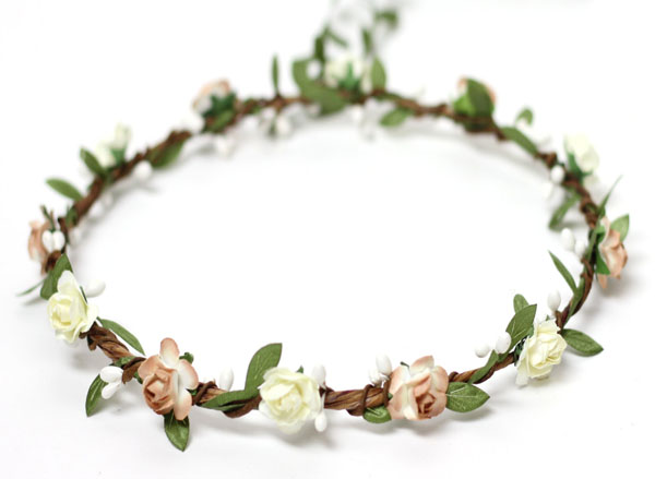 Rustic Wedding Flower Crown with leafs and berry Floral Hair Wreath