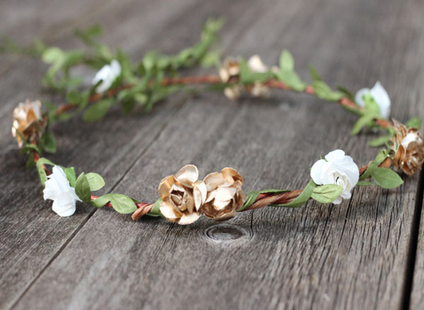 Rustic Wedding Flower Headpiece Ivory and Gold Floral Hair Wreath with Greenery