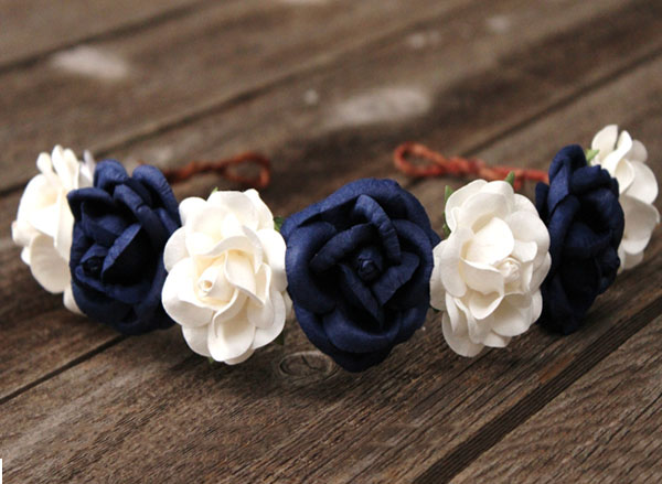 Oversized Flower Crown Navy and White Wedding Head Wreath Rose Headband
