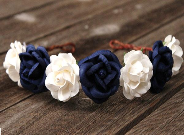 Oversized flower crown navy white wedding head wreath rose oversized flower crown navy and white wedding head wreath rose headband mightylinksfo