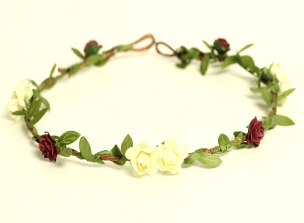 Flower Crown Ivory Bridal Halo Marsala Red Floral Hair Wreath Green Garland