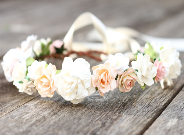 Rose Ivory Peach Flower Wedding Crown Floral Headpiece