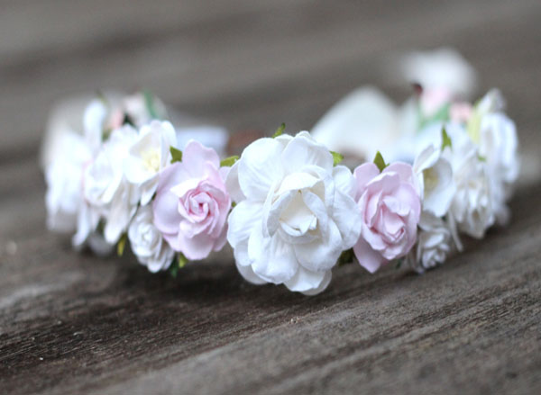 White Bridal Head Wreath Wedding Blush Boho Headpiece | Wedding Flower Crown