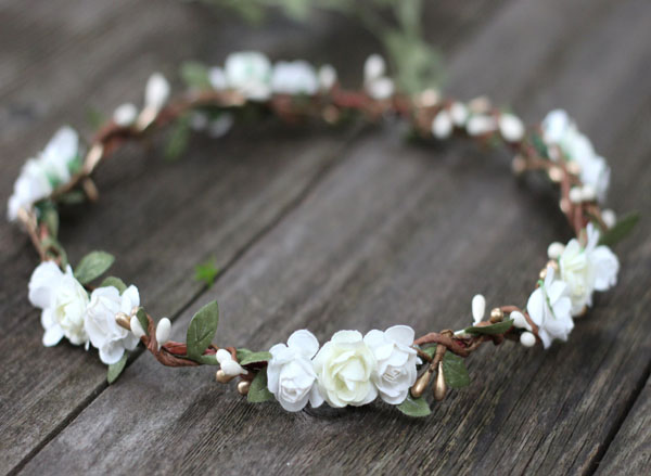 Ivory and White Flower Crown Gold Bridal Floral Crown Headpiece Greenery