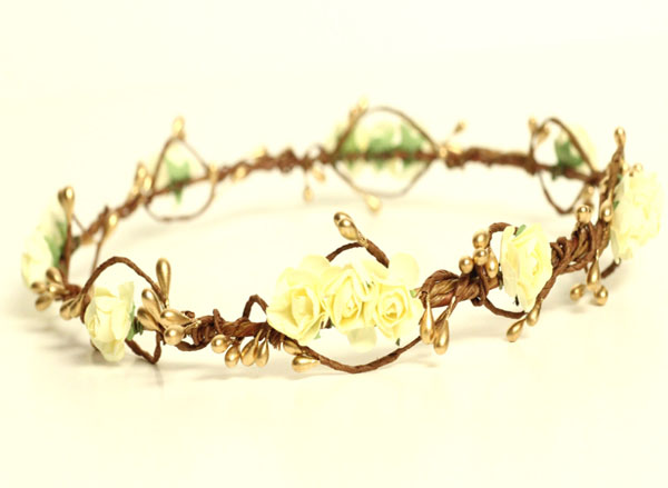 Ivory and Gold Flower Hair Wreath Natural Wedding Hair Crown