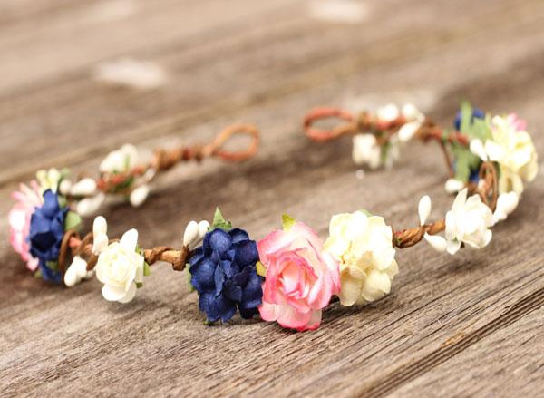 ... Navy Cream Flower Girl Crown Headband Pink Wedding Flower Crown d051fd271e4