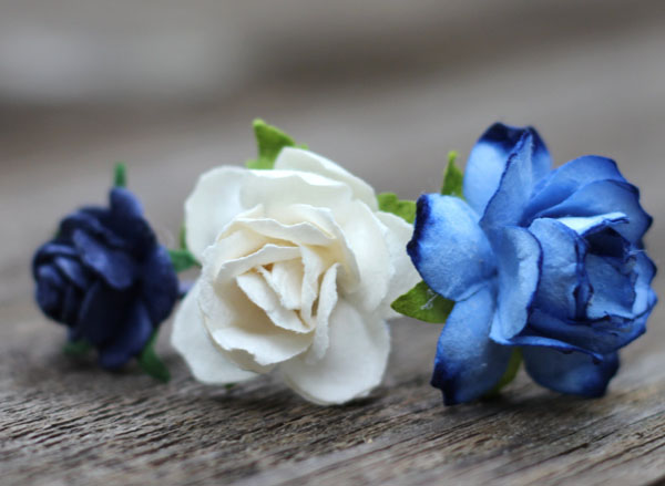Hair Pins Flower Navy Blue and Ivory Rose Bridal Hair Accessories