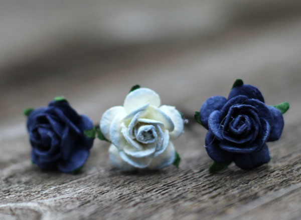 Navy Blue Hair Pins Boho Wedding Flower Hair Accessories