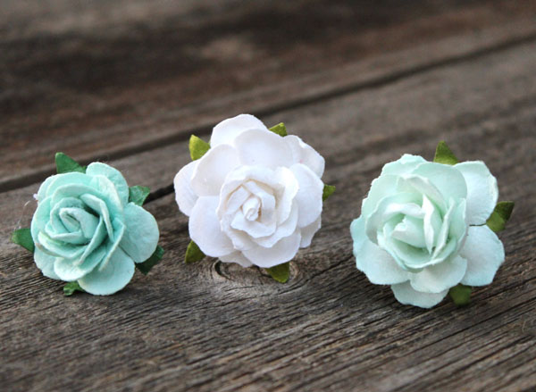 Bridal Bobby Hair Pins in Mint Flowers Set of 3